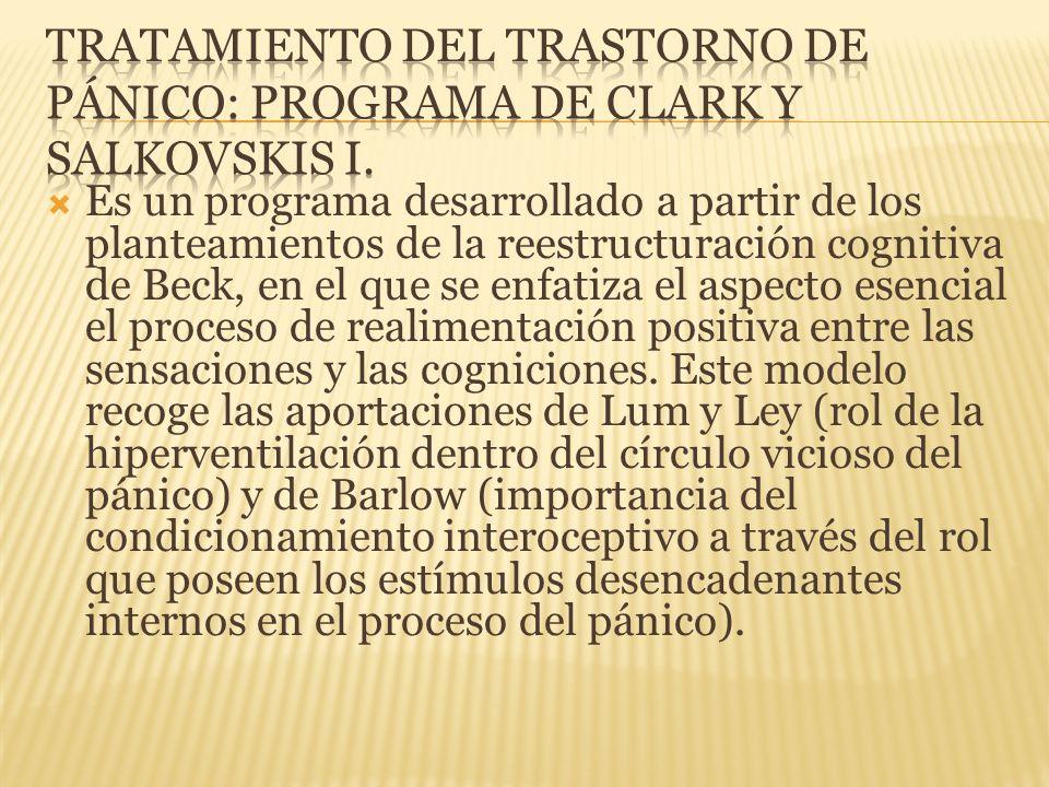 Tratamiento del trastorno de pánico: Programa de clark y salkovskis I.