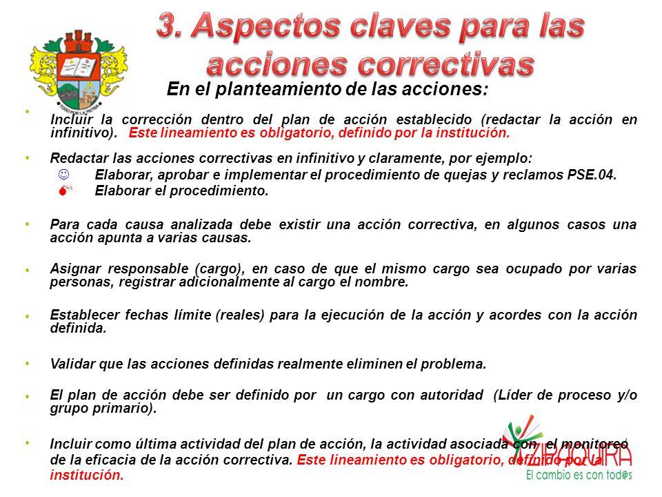 3. Aspectos claves para las acciones correctivas