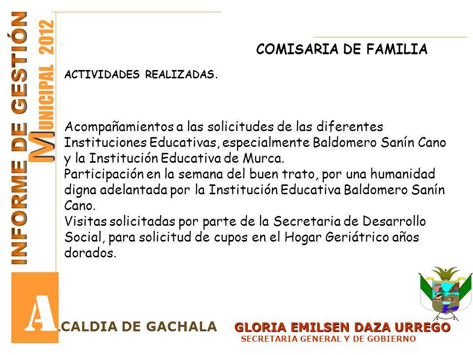 A MUNICIPAL 2012 INFORME DE GESTIÓN COMISARIA DE FAMILIA