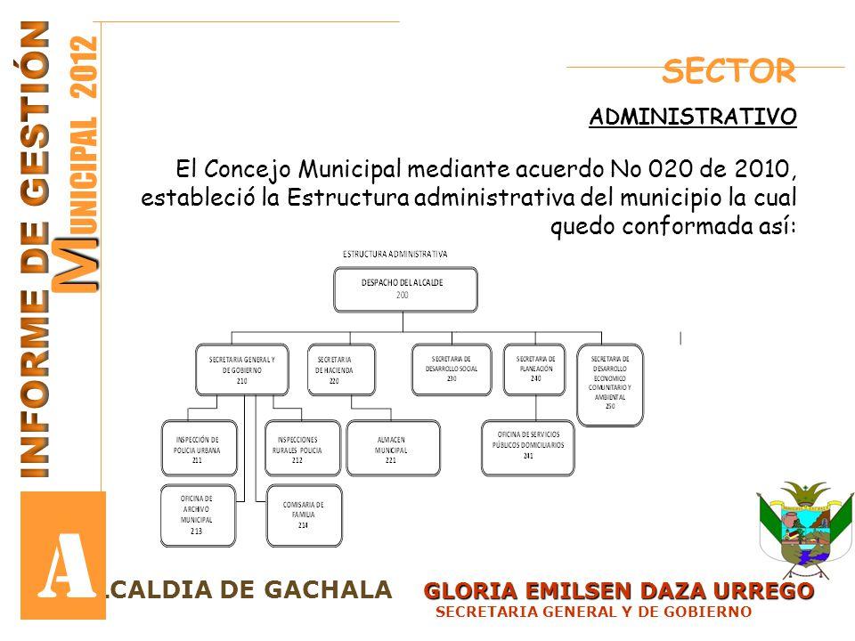 A MUNICIPAL 2012 INFORME DE GESTIÓN SECTOR
