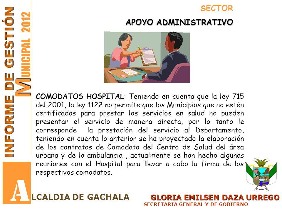 A MUNICIPAL 2012 INFORME DE GESTIÓN SECTOR APOYO ADMINISTRATIVO