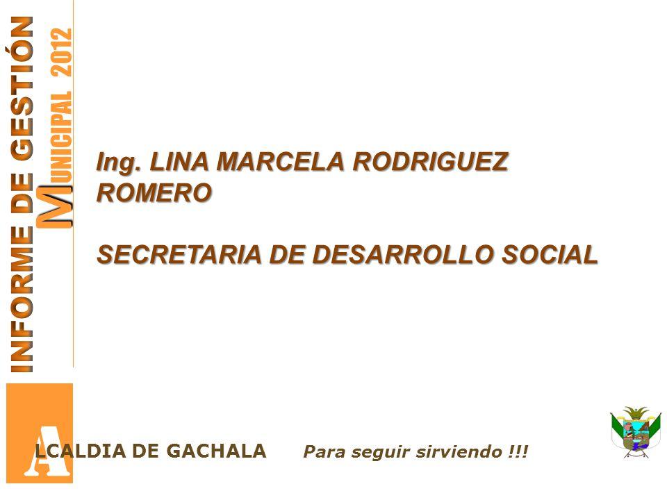 A MUNICIPAL 2012 INFORME DE GESTIÓN Ing. LINA MARCELA RODRIGUEZ ROMERO