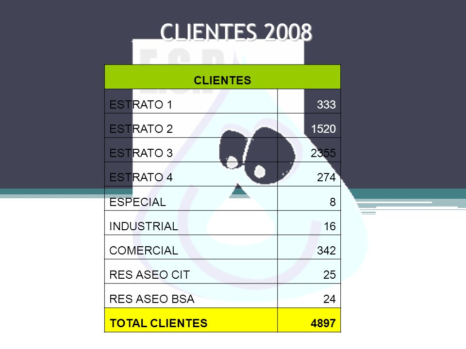 CLIENTES 2008 CLIENTES ESTRATO 1 333 ESTRATO 2 1520 ESTRATO 3 2355
