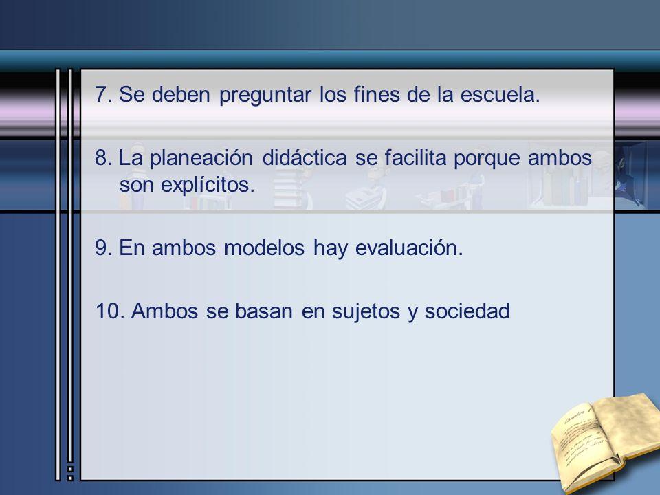 7. Se deben preguntar los fines de la escuela.
