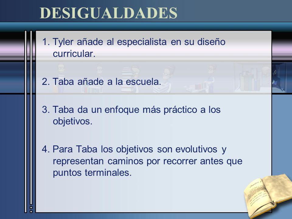 DESIGUALDADES 1. Tyler añade al especialista en su diseño curricular.