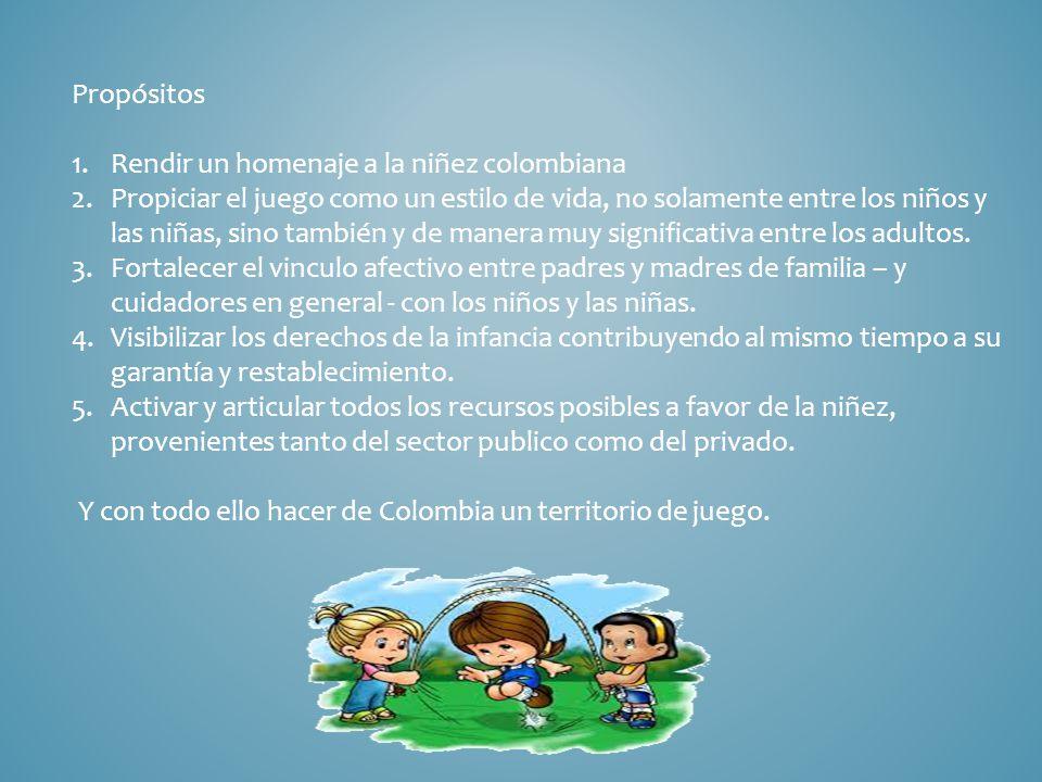 Propósitos Rendir un homenaje a la niñez colombiana.