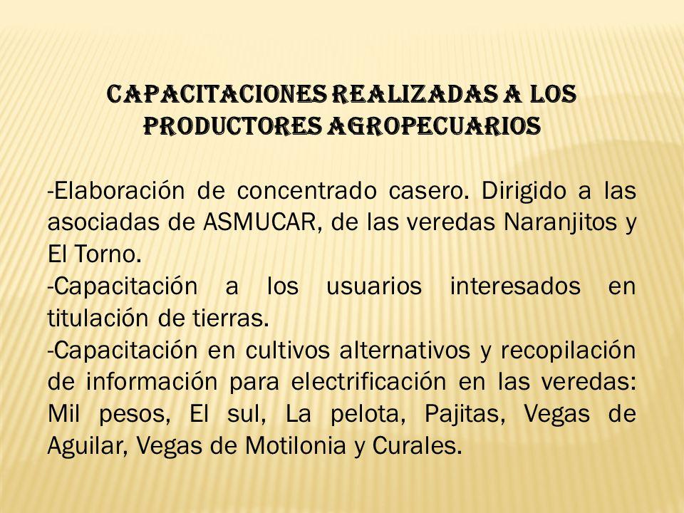 CAPACITACIONES REALIZADAS A LOS PRODUCTORES AGROPECUARIOS