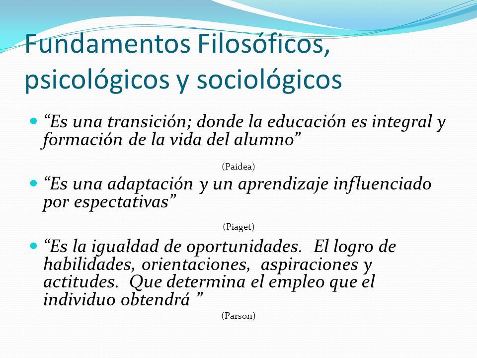 Fundamentos Filosóficos, psicológicos y sociológicos
