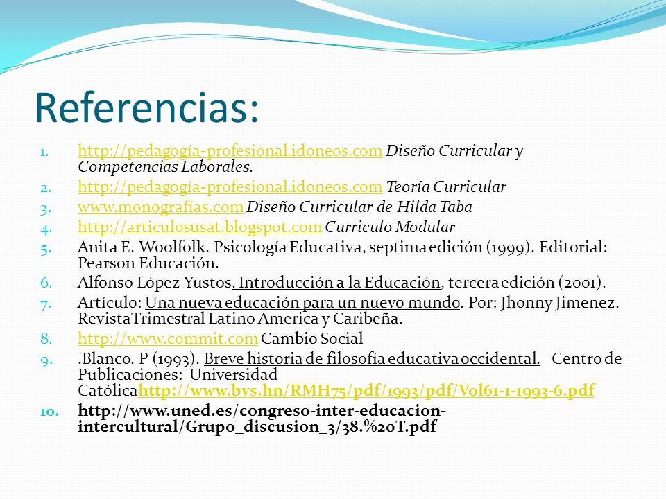 Referencias: http://pedagogía-profesional.idoneos.com Diseño Curricular y Competencias Laborales.