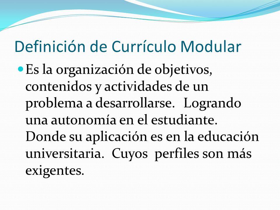 Definición de Currículo Modular