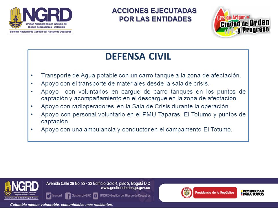 DEFENSA CIVIL ACCIONES EJECUTADAS POR LAS ENTIDADES