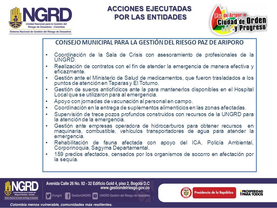 CONSEJO MUNICIPAL PARA LA GESTIÓN DEL RIESGO PAZ DE ARIPORO