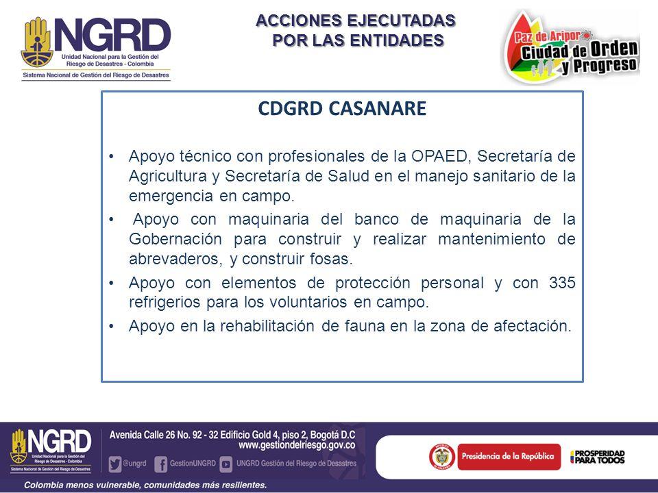 CDGRD CASANARE ACCIONES EJECUTADAS POR LAS ENTIDADES