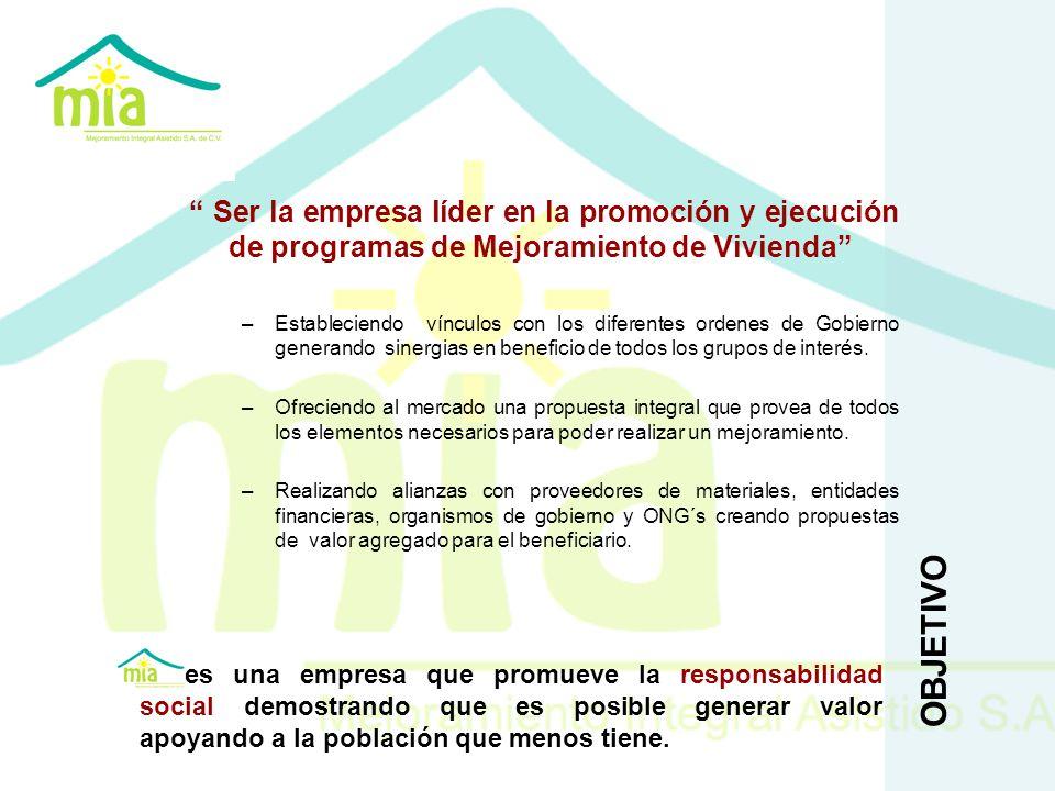 Ser la empresa líder en la promoción y ejecución de programas de Mejoramiento de Vivienda