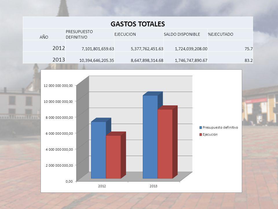 GASTOS TOTALES 2012 2013 AÑO PRESUPUESTO DEFINITIVO EJECUCION