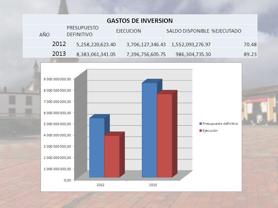 GASTOS DE INVERSION 2012 2013 AÑO PRESUPUESTO DEFINITIVO EJECUCION