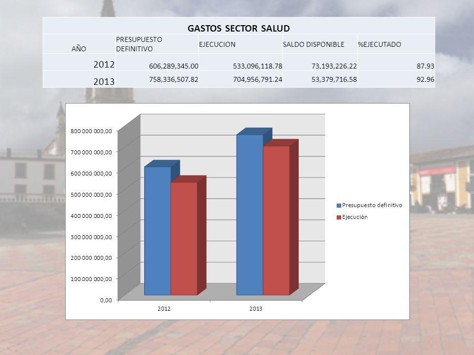 GASTOS SECTOR SALUD 2012 2013 AÑO PRESUPUESTO DEFINITIVO EJECUCION