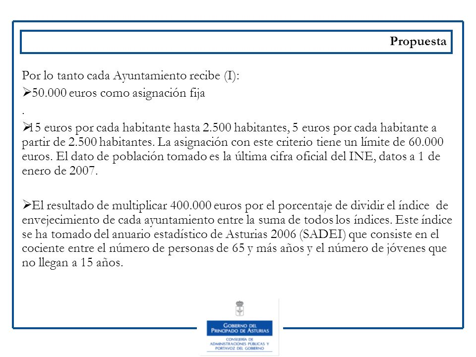 PropuestaPor lo tanto cada Ayuntamiento recibe (I): 50.000 euros como asignación fija. .