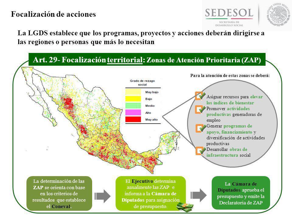 Art. 29- Focalización territorial: Zonas de Atención Prioritaria (ZAP)