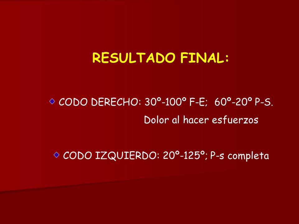 RESULTADO FINAL: CODO DERECHO: 30º-100º F-E; 60º-20º P-S.