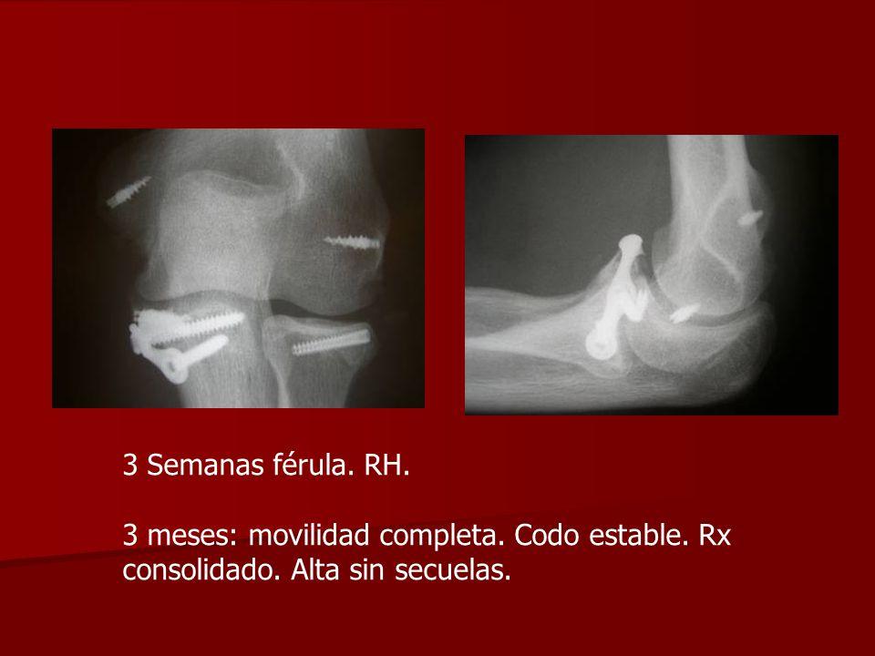 3 Semanas férula RH. 3 meses: movilidad completa. Codo estable. Rx consolidado. Alta sin secuelas.