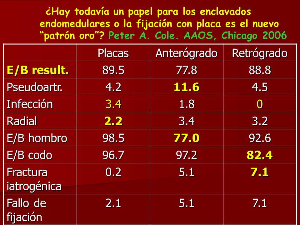 Placas Anterógrado Retrógrado E/B result. 89.5 77.8 88.8 Pseudoartr.