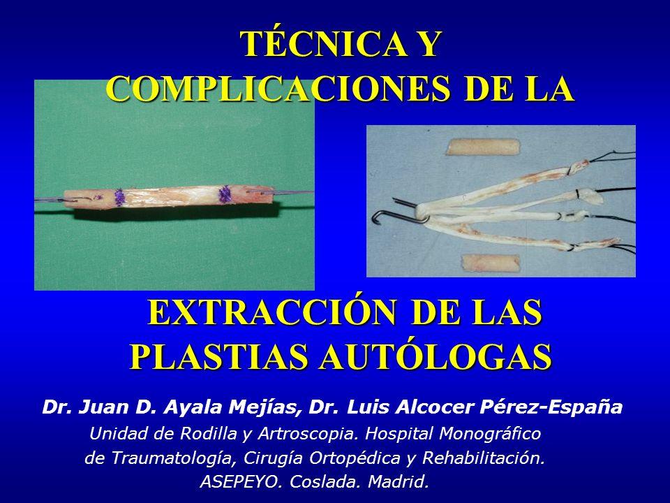 TÉCNICA Y COMPLICACIONES DE LA EXTRACCIÓN DE LAS PLASTIAS AUTÓLOGAS