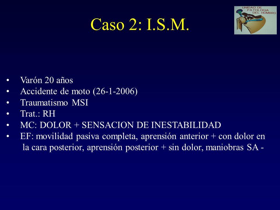 Caso 2: I.S.M. Varón 20 años Accidente de moto (26-1-2006)