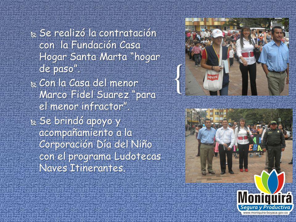 Se realizó la contratación con la Fundación Casa Hogar Santa Marta hogar de paso .