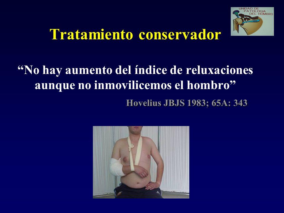 Tratamiento conservador No hay aumento del índice de reluxaciones aunque no inmovilicemos el hombro Hovelius JBJS 1983; 65A: 343