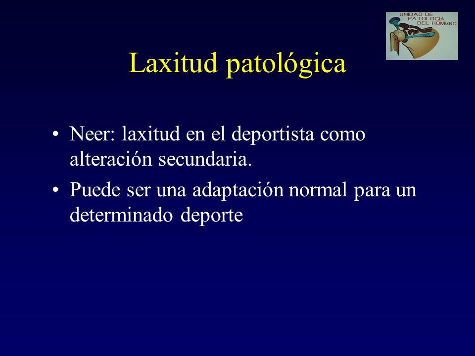 Laxitud patológica Neer: laxitud en el deportista como alteración secundaria.