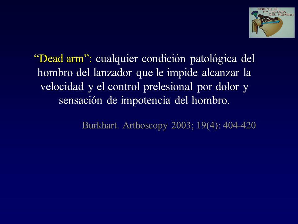 Dead arm : cualquier condición patológica del hombro del lanzador que le impide alcanzar la velocidad y el control prelesional por dolor y sensación de impotencia del hombro.