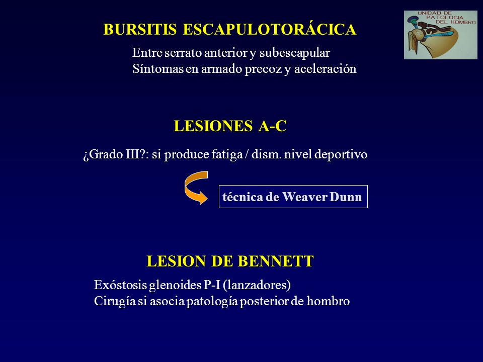 BURSITIS ESCAPULOTORÁCICA LESIONES A-C LESION DE BENNETT