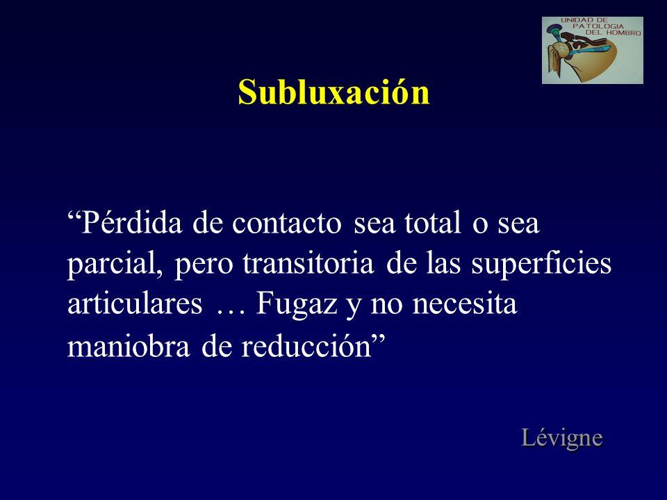 Subluxación Pérdida de contacto sea total o sea parcial, pero transitoria de las superficies articulares … Fugaz y no necesita maniobra de reducción Lévigne