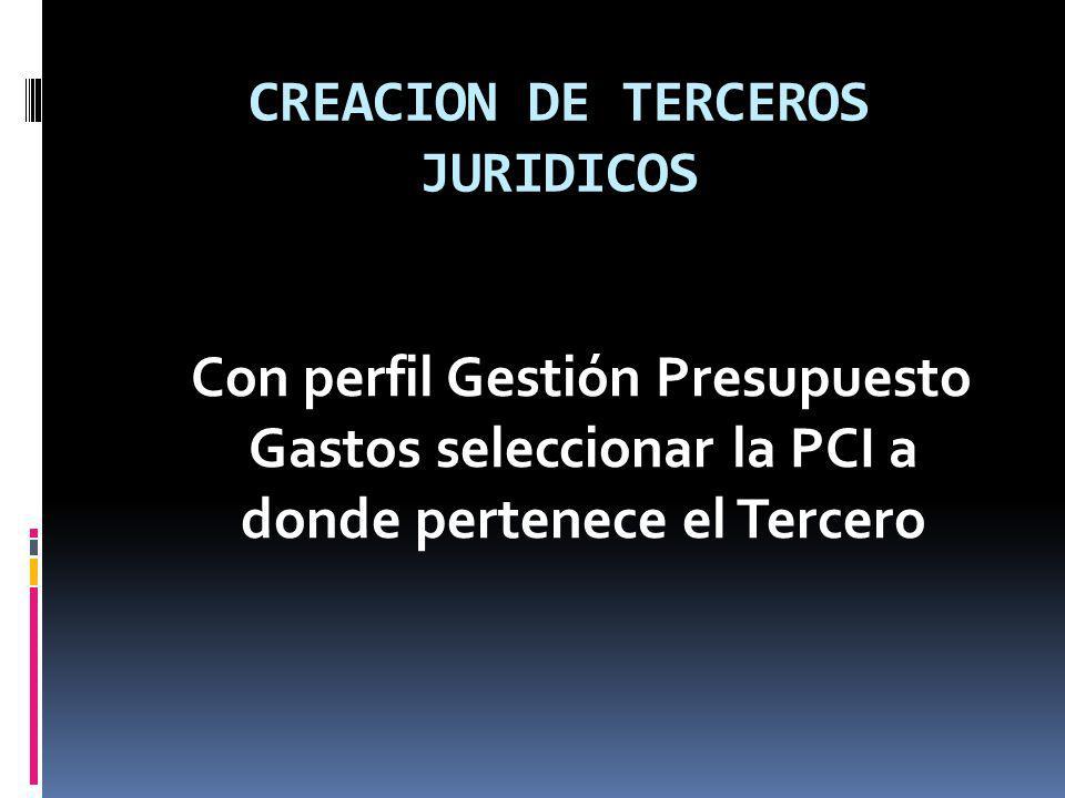 CREACION DE TERCEROS JURIDICOS