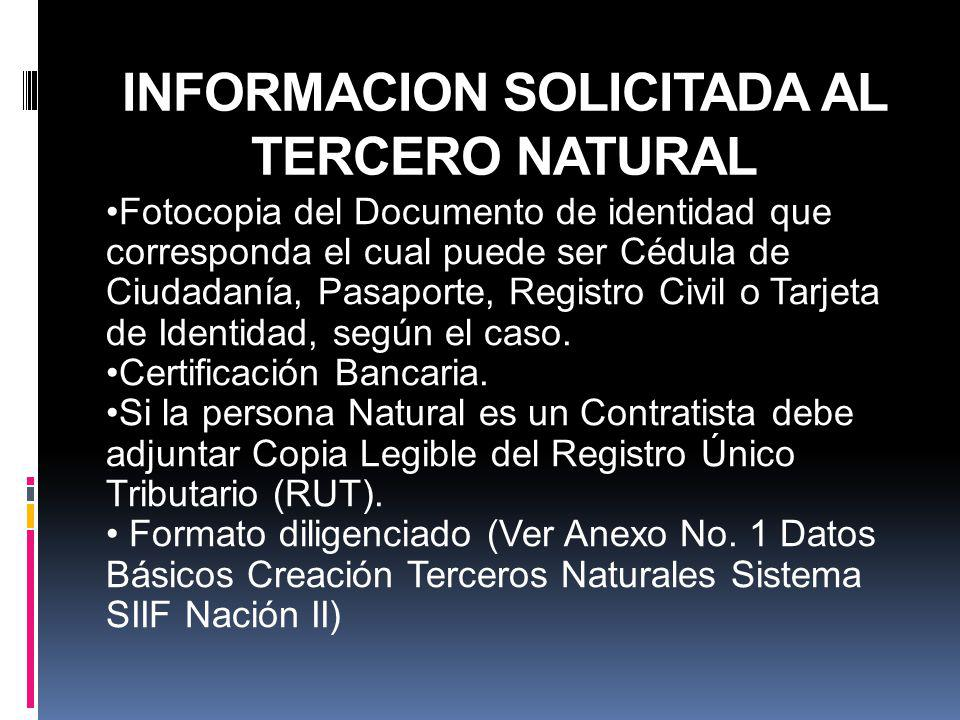 INFORMACION SOLICITADA AL TERCERO NATURAL