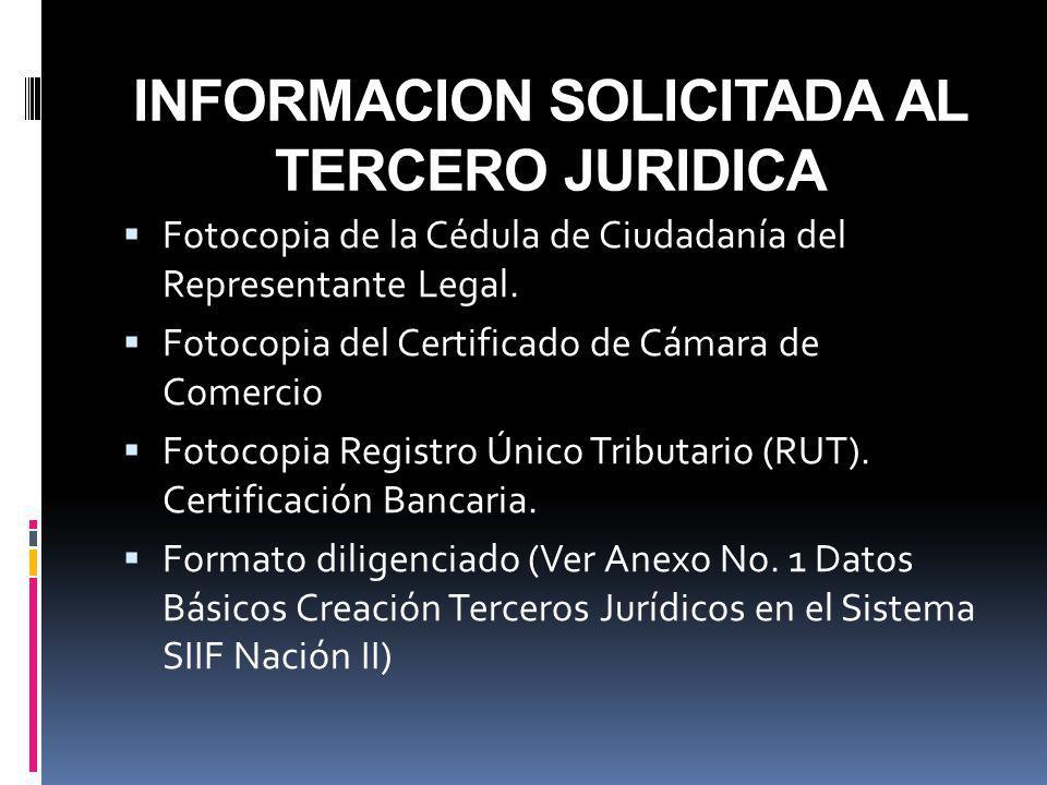 INFORMACION SOLICITADA AL TERCERO JURIDICA