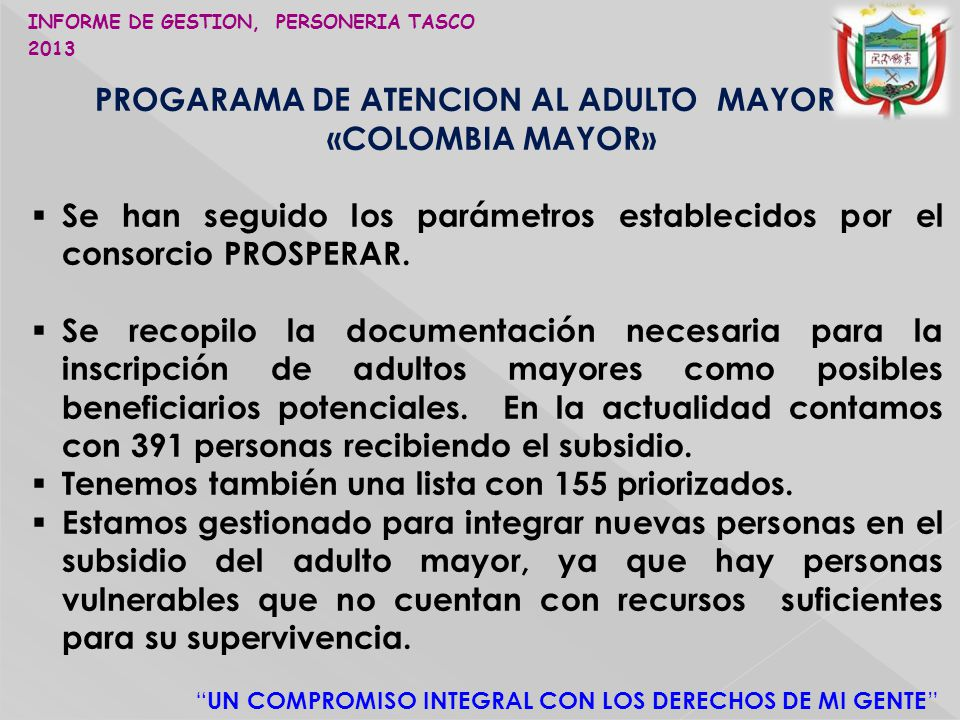 PROGARAMA DE ATENCION AL ADULTO MAYOR «COLOMBIA MAYOR»