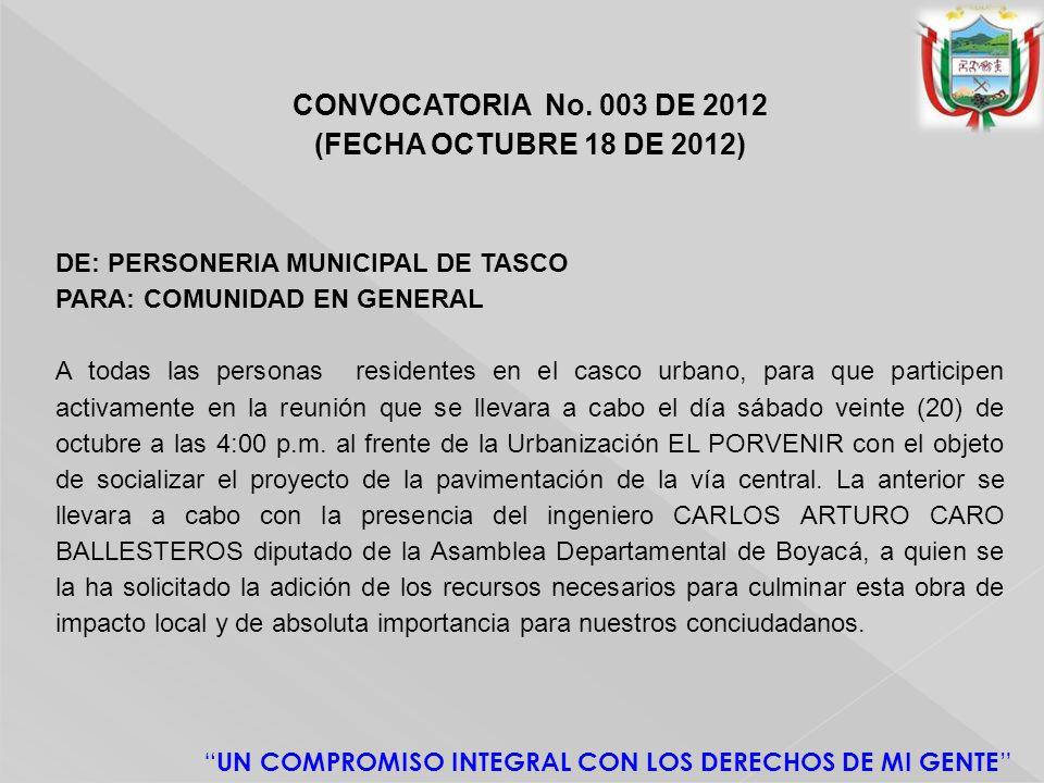 CONVOCATORIA No. 003 DE 2012 (FECHA OCTUBRE 18 DE 2012)