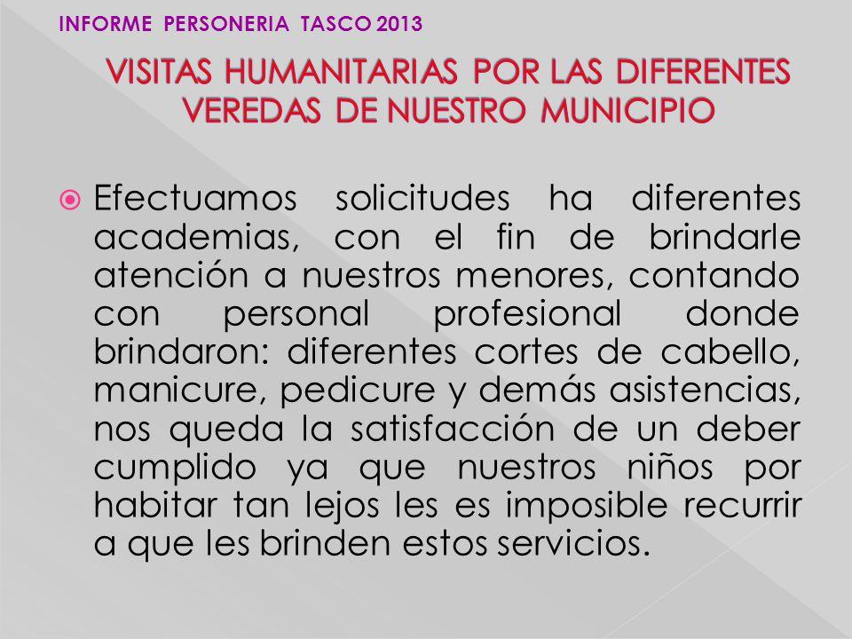 VISITAS HUMANITARIAS POR LAS DIFERENTES VEREDAS DE NUESTRO MUNICIPIO