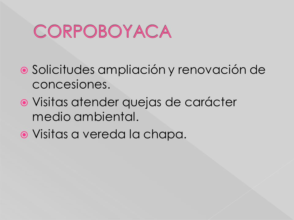 CORPOBOYACA Solicitudes ampliación y renovación de concesiones.