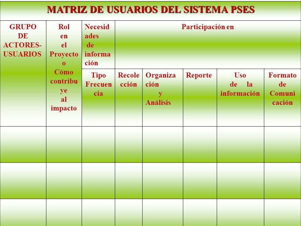 MATRIZ DE USUARIOS DEL SISTEMA PSES