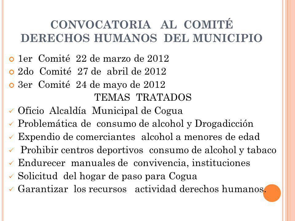 CONVOCATORIA AL COMITÉ DERECHOS HUMANOS DEL MUNICIPIO
