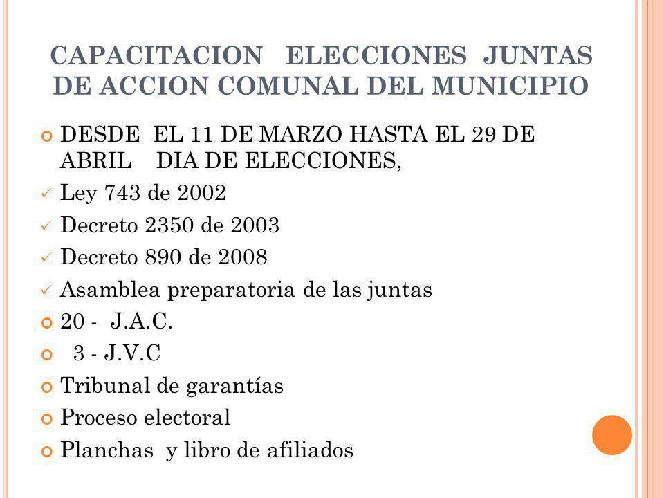 CAPACITACION ELECCIONES JUNTAS DE ACCION COMUNAL DEL MUNICIPIO