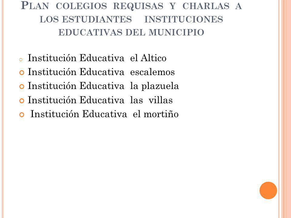 Plan colegios requisas y charlas a los estudiantes instituciones educativas del municipio