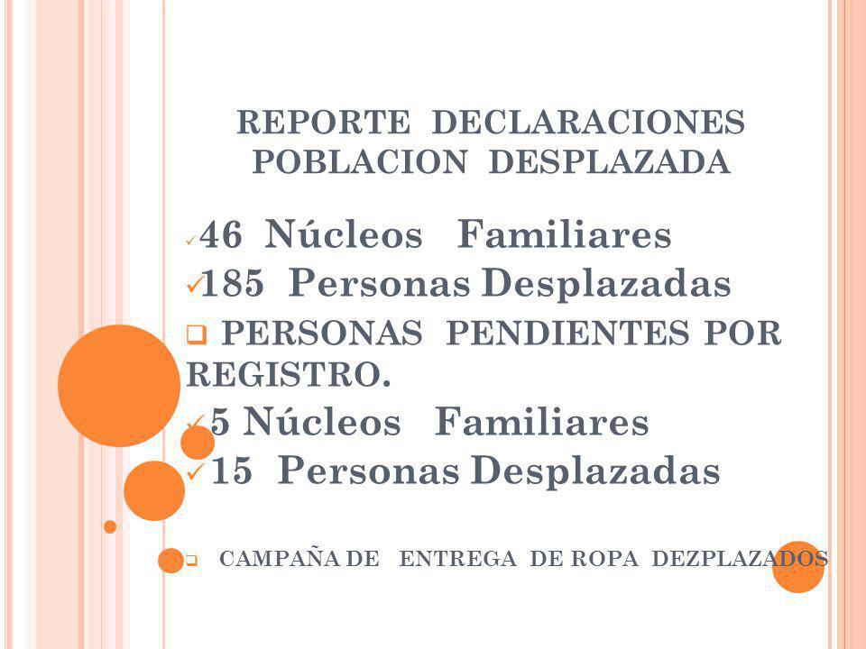 REPORTE DECLARACIONES POBLACION DESPLAZADA
