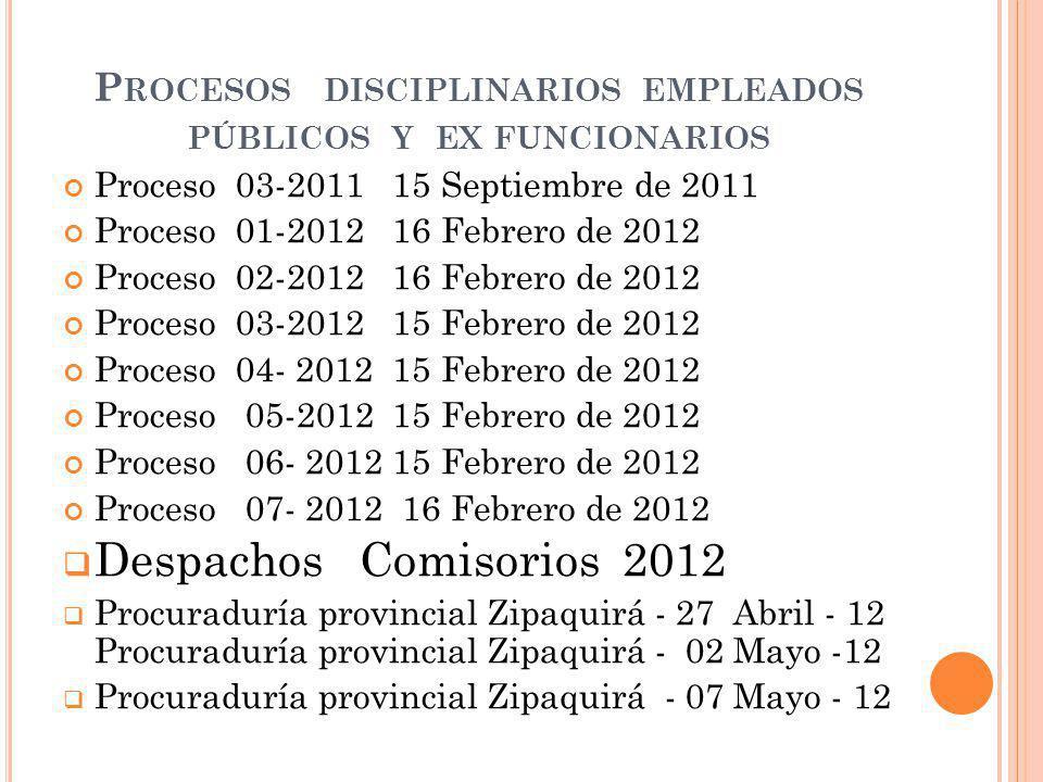 Procesos disciplinarios empleados públicos y ex funcionarios