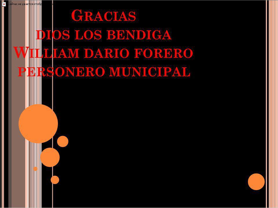 Gracias dios los bendiga William dario forero personero municipal