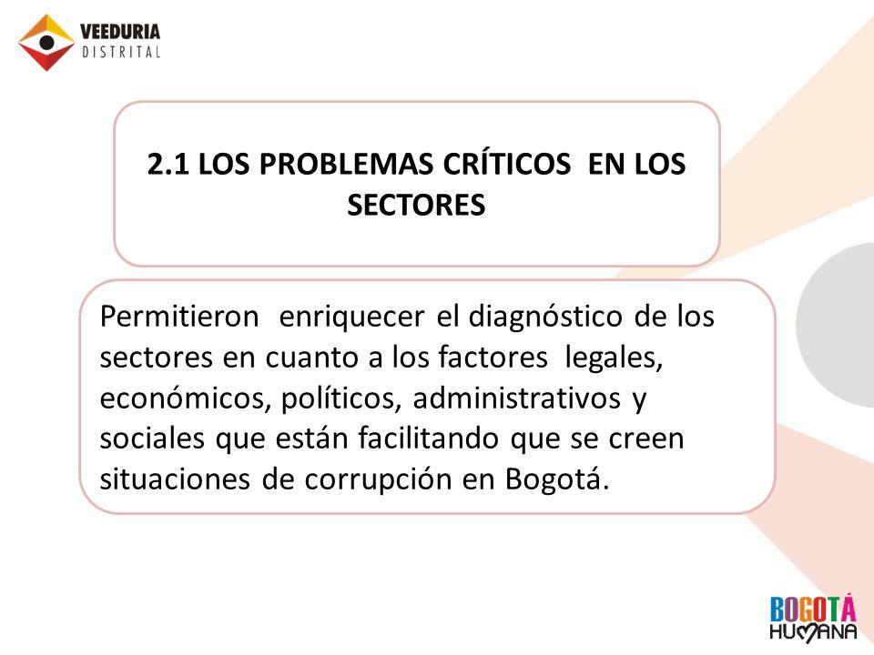 2.1 LOS PROBLEMAS CRÍTICOS EN LOS SECTORES