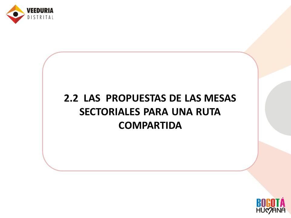 2.2 LAS PROPUESTAS DE LAS MESAS SECTORIALES PARA UNA RUTA COMPARTIDA